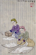 Preparing Cotton For Weaving. From An Album Of Scenes Of Daily Life by Kim Junkeun