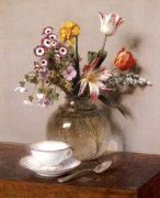A Vase Of Flowers With A Coffee Cup by Ignace-Henri-Théodore Fantin-Latour