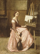 Corot's Studio (Young Girl In Pink Dress Sitting By An Easel With A Mandolin) by Jean-Baptiste-Camille Corot