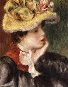 Tete De Jeune Fille Chapeau Jaune by Pierre Auguste Renoir