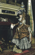By the Fireside, C. 1869 by James Jacques Joseph Tissot