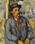 Peasant In Blue Shirt by Paul Cezanne