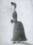 La Promeneuse Au Manchon, Circa 1884 by Georges Seurat