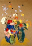 Three Vases Of Flowers, Circa 1908 by Odilon Redon