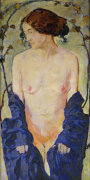 Standing Nude With Blue Robe, Circa 1900 by Koloman Moser