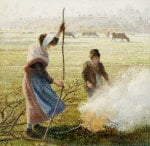 White Frost, Woman Breaking Up Wood, 1890 by Camille Pissarro
