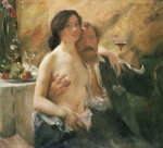 Self Portrait With Nude Woman And Glass, 1902 by Lovis Corinth