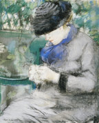 Girl Sitting In The Garden, Or The Knitting, 1879 by Edouard Manet