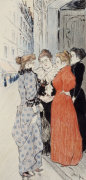 Women Conversing In The Street. One Of Twenty Illustrations For 'Autour Trottoir' by Theophile-Alexandre Steinlen