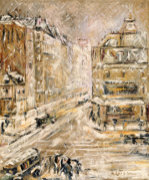 Rue De Clignacourt In The Snow, Circa 1924 by Gustave Loiseau