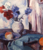 Mixed Carnations And Cornflowers In A Pottery Vase, Circa 1931 by Samuel John Peploe