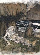 A Crowned 'Merman' A Sea God Sleeping On A Rocky Shore by Arthur Rackham