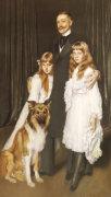 Portrait Of A Family With Their Collie by Antonio de la Gandara