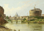 The Tiber With The Castel Sant'Angelo And St.Peter's, Rome by Antonietta Brandeis