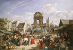 A View Of The Market And Fountain Of The Innocents, Paris, 1822 by John James Chalon