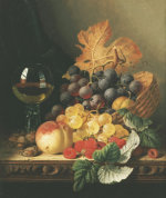 A Basket Of Grapes, Raspberries, A Peach And A Wine Glass On A Table by Edward Ladell