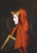 A Woman In Profile Holding A Book by Jean-Jacques Henner