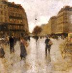 Parisian Street Scene by Luigi Aloys-François-Joseph Loir