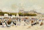 The Beach At Deauville by Luigi Aloys-François-Joseph Loir