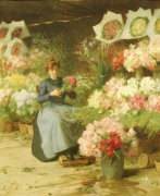 Flower Seller Behind The Madelaine Church by Victor Gabriel Gilbert