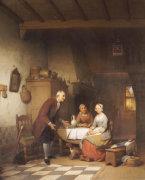 An Unwanted Suitor, 1857 by Ferdinand de Braekeleer