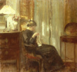 A Woman Sewing In An Interior by Carl Holsoe
