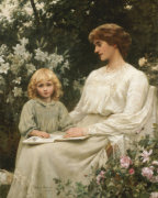 Portrait Of A Mother And A Daughter Reading A Book by Edwin Harris
