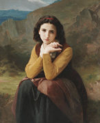 Reflective Beauty by Adolphe William Bouguereau