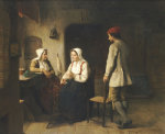 A Peasant Woman Spinning In An Interior by Sven Victor Helander