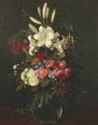 Lilies, Roses, Passion Flowers, Fuschias And Other Flowers In A Glass Vase, 1859 by Otto Diderich Ottesen