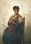 A Girl Knitting, 1873 by Jules Adolphe Breton