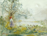 A Peasant Girl And Ducks In A Wooded Lake Landscape by Pompeo Mariani