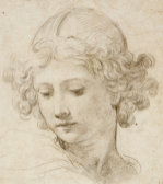 The Head Of An Angel, Looking Down To The Left by Pietro da Cortona