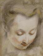 The Head Of A Woman Looking Down To The Right by Federico Barocci