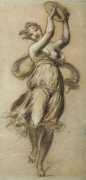 A Woman Dancing, Playing A Tambour by Pierre-Paul Prud'hon