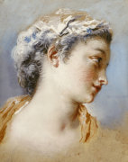 A Portrait Study Of A Young Girl In Profile To The Right by Jacques Andre Portail