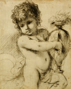 A Putto With A Vase by Guercino (Giovanni Francesco Barbieri)