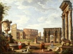 A Capriccio View Of Rome With The Colosseum, 1743 by Giovanni Paolo Panini