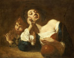 A Shepherdess With A Gourd And A Peasant Boy Playing Pipes by Giovanni Battista Piazzetta