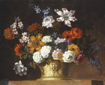 Tulips, Snowballs And Other Flowers In A Sculpted Urn On A Ledge by Peter Casteels III