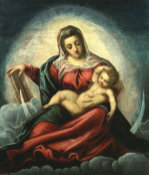 The Madonna And Child In A Mandorla On A Crescent Moon And Clouds by Jacopo Tintoretto
