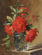 Red Carnations And A Sprig Of Berries In A Glass On A Ledge by Gerard Van Spaendonck