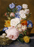 Roses, Morning Glory, Narcissi, Aster And Other Flowers In A Basket, 1744 by Jan Van Huysum
