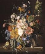 Poppies, Hollyhock, Morning Glory, Viola, Daisies, Sweet Pea, Marigolds by Jan Van Huysum