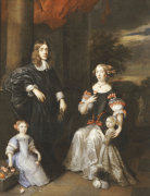 A Group Portrait Of A Gentleman, His Wife And Two Daughters by Barent Graat
