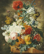 Tulips, An Opium Poppy, Hyacinths, Anemones, Auricolas, Convolvuli, A Peony And Other Flowers, 1782 by Wybrand Hendriks