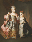 Portrait Of Two Young Girls by Alexis Simon Belle