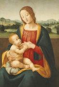 Madonna And Child Before A Landscape by Giovanni Sogliani