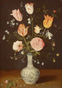 Tulips, Roses, Forget-Me-Nots And Other Flowers In A Late Ming Blue And White Vase by Christie's Images