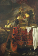 A Basket Of Mixed Fruit With Gilt Cup, Silver Chalice, Nautilus, Glass And Peaches On Plate by Jan Davidsz de Heem